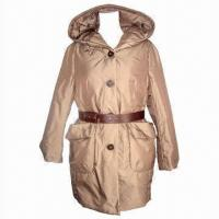 Wholesale Women's Padded Jacket with PVC Belt, Designed Pockets and 100% Polyester Satin Lining from china suppliers