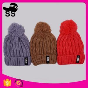 China 20*22+10cm 100%Acrylic 166g Chinese supplier custom blank wholesale pom beanie winter knitting hats on sale