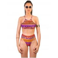 Wholesale women's high waisted bikini,vintage high neck/waisted sexy swimwear printed swimsuit from china suppliers