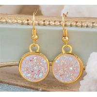 Buy cheap Faux Pink Rose Gold Druzy Earrings Genuine Rose Quartz Dangle , High Light from Wholesalers