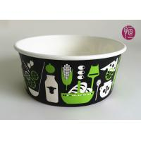 185mm Round Printed Paper Salad Bowls Take Away With PET Lid