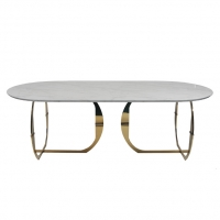 Wholesale Modern Stainless Steel 160KG White Marble Top Dining Table from china suppliers