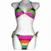 Wholesale Bikinis with Colorful Stripes Print, Made of 82% Nylon 18% Spandex, Customized Designs are Welcome from china suppliers