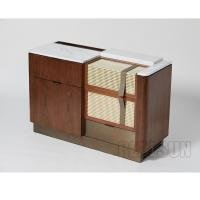 Wholesale Walnut Veneer Functional Console Hotel Room Dresser With Brushed Brass Metal Base from china suppliers