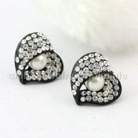 Buy cheap Heart Alloy Rhinestone Stud Earrings from Wholesalers