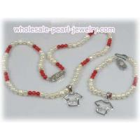 Flower girl & boy pearl and coral beads necklace bracelet set