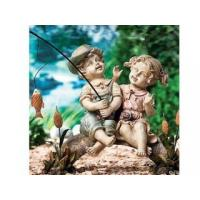 Polyresin Statues Resin Fishing Boy And Girl Statue