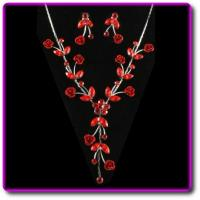 China Ruby Red Austrian Crystal Necklace & Earring Set on sale