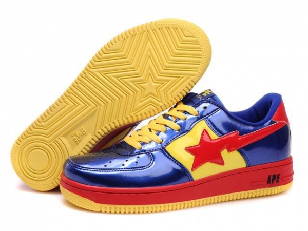 Quality Bape Cartoon shoes blue / red / yellow for sale