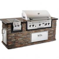 Wholesale Fire Magic Aurora A790 Propane Gas Grill in Stack Stone Grill Island with Cocoa Granite Countertop from china suppliers