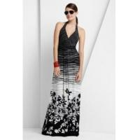 Wholesale BCBGMAXAZRIA Black White Maple Leave Long Dress from china suppliers
