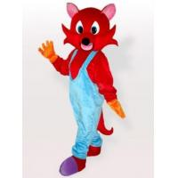 Wholesale Red Fox in Blue Bib Overalls Adult Mascot Costume from china suppliers