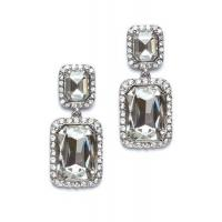 Buy cheap Clear/Silver Double Square Earring from Wholesalers