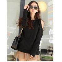 Buy cheap A1668# korean fashion exposed shoulder leisure long sleeve T-shirt from wholesalers