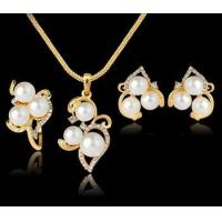 Wholesale Wholesale Fashion Costume Jewellery Pearl Bridal Gold Jewelry Set from china suppliers