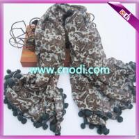 Buy cheap polyester scarf with pompoms from wholesalers