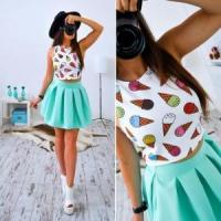 Wholesale Lovely Girl Printed White Crop Top and Pleated Sheer Skirt 21304-1 from china suppliers