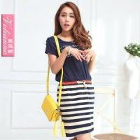 2013 t-shirt patchwork lacing black and white stripe one-piece d