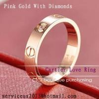 Wholesale Fake Cartier Love Wedding Band 18K Pink Gold With Diamond from china suppliers