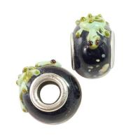 Buy cheap Large Hole Lampwork Glass Bead 10x15mm Black with Green Turtle and Tan Dots (1-Pc) LG418 from Wholesalers