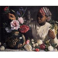 Wholesale jean frederic bazille african woman with peonies paintings:31238 from china suppliers