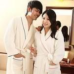 men double layer waffle bathrobe