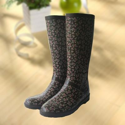 Quality Elegant flowers printing rubber rain boot, woman knee boot for sale