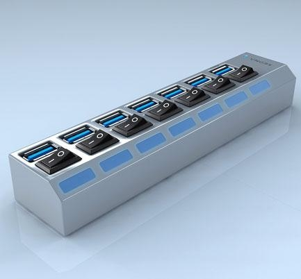 Desktop 7 ports usb 3 0 hub with power switch and 1 ipad charging port of item 47237863 - Usb 7 port hub with power switches ...