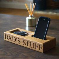 China Personalised Oak Phone and Coin Tray on sale