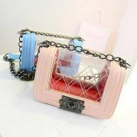 Wholesale china products metal chain for handbag brand transparent lady handbag E677 from china suppliers