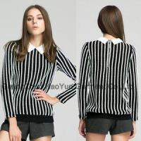 Buy cheap ladies tops latest design/stripes with point collar for ladies tops latest design from Wholesalers