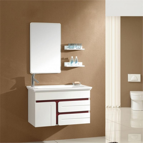 Model 2012 Hot Sale Hanging Solid Wood Bathroom Mirror Cabinet With Single Basin Fl004 Of Item