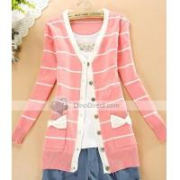 Buy cheap Clothing, Shoes & Accessories Qooeen Cotton Slim Stripe Bowknot Long Sleeve Women Cardigan from wholesalers