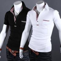 Wholesale YW Plaid Jointing Lapel Short Sleeve Slim Mens Polo Shirt from china suppliers