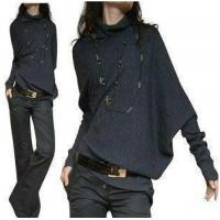 Wholesale YS Solid Knitting Long Sleeve Cotton Wool Blend Women Sweater from china suppliers