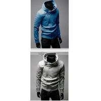Wholesale Qooeen Casual Solid Stand Collar Long Sleeves Zippered Cotton Mens Sweatshirt from china suppliers