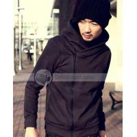 Wholesale Lingson Casual Solid Slim Side Zipper Cardigan Warm Hoodie Cotton Long Sleeve Men Sweatshirt from china suppliers