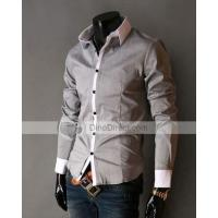 Buy cheap MixShow Stylish Peaked Lapel Long Sleeve Mens Casual Shirt from wholesalers
