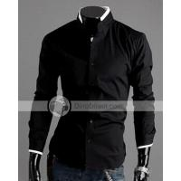 Buy cheap YW Fashion Two Tone Stand Collar Single Breasted Cardigan Cotton Long Sleeve Men Shirt from wholesalers
