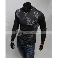 Buy cheap YW Fashion Cotton Blends Print Crew Neck Long Sleeve Mens T Shirts from wholesalers