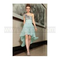 One shoulder embroidered applique pleat special occasion dress