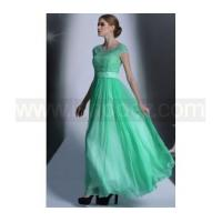 Wholesale New Fashion Short Sleeves Jewel Green Crystal Long Formal Bridesmaid Dress from china suppliers