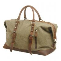 Good quality vintage style large capacity canvas leather travel bag low price