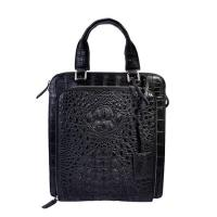 Wholesale Classical design daily use small size black crocodile leather men handbag factory from china suppliers