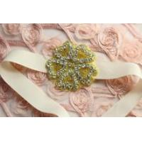 Wholesale Gold Beaded glass crystal rhinestone wedding craft sash Clear Stone applique beaded from china suppliers