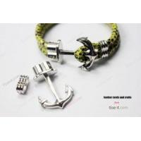 Wholesale Silver Leather Bracelet Anchor Hook Clasps 1 Set from china suppliers
