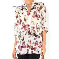 Wholesale 2014 fashion printed chiffon V collar ladies chiffon shirts blouse tops from china suppliers