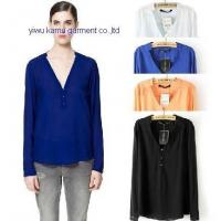 Wholesale Sexy ladies chiffon shirts blouse V neck long sleeve shirts woman from china suppliers