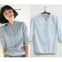 Wholesale Fashion latest design v collar half sleeve woman shirts blouse lady denim tops from china suppliers