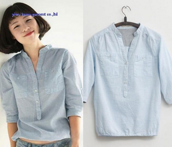 Quality Fashion latest design v collar half sleeve woman shirts blouse lady denim tops for sale